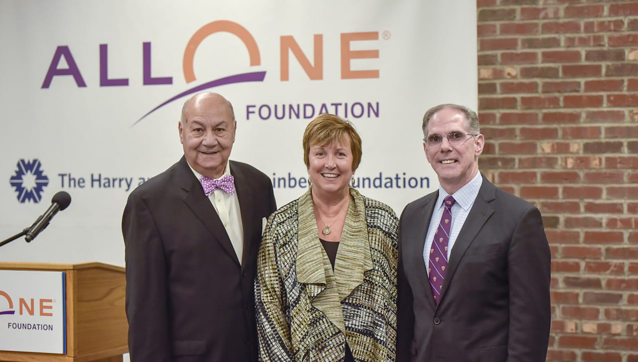 from left, John P. Moses, Esq., chair of the Board of AllOne Foundation; Debra Pellegrino, Ed.D., dean of The University of Scranton's Panuska College of Professional Studies; and John W. Cosgrove, executive director of AllOne Foundation and Charities.